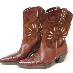 Van Eli Rusty Brown Leather Suede Rhinestone Boots